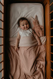 Soft cot blanket (100x150 cm) made of 100% organic cotton. Milky Rust_