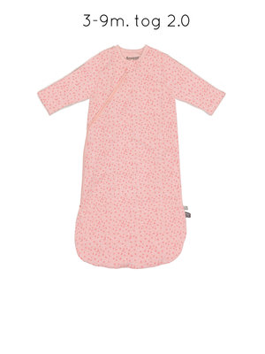 sleepsuit long sleeve stars poppy red on pink melange