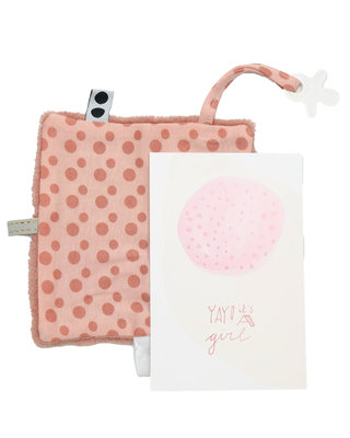 Giftset Yay it's a girl (birthcard + envelope + gift) Dusty Rose