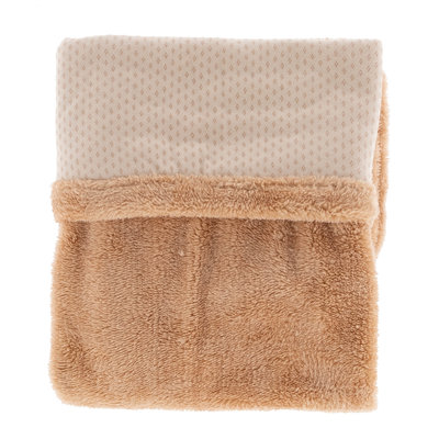 double-layer crib blanket (75x100 cm). Made in Turkey of 100% organic cotton and 100% recycled polyester. TOG 2.0 Milky Rust