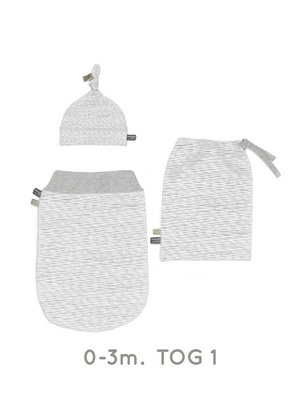 Set new born cocoon 0-3 months incl hat & bag in white blizzard